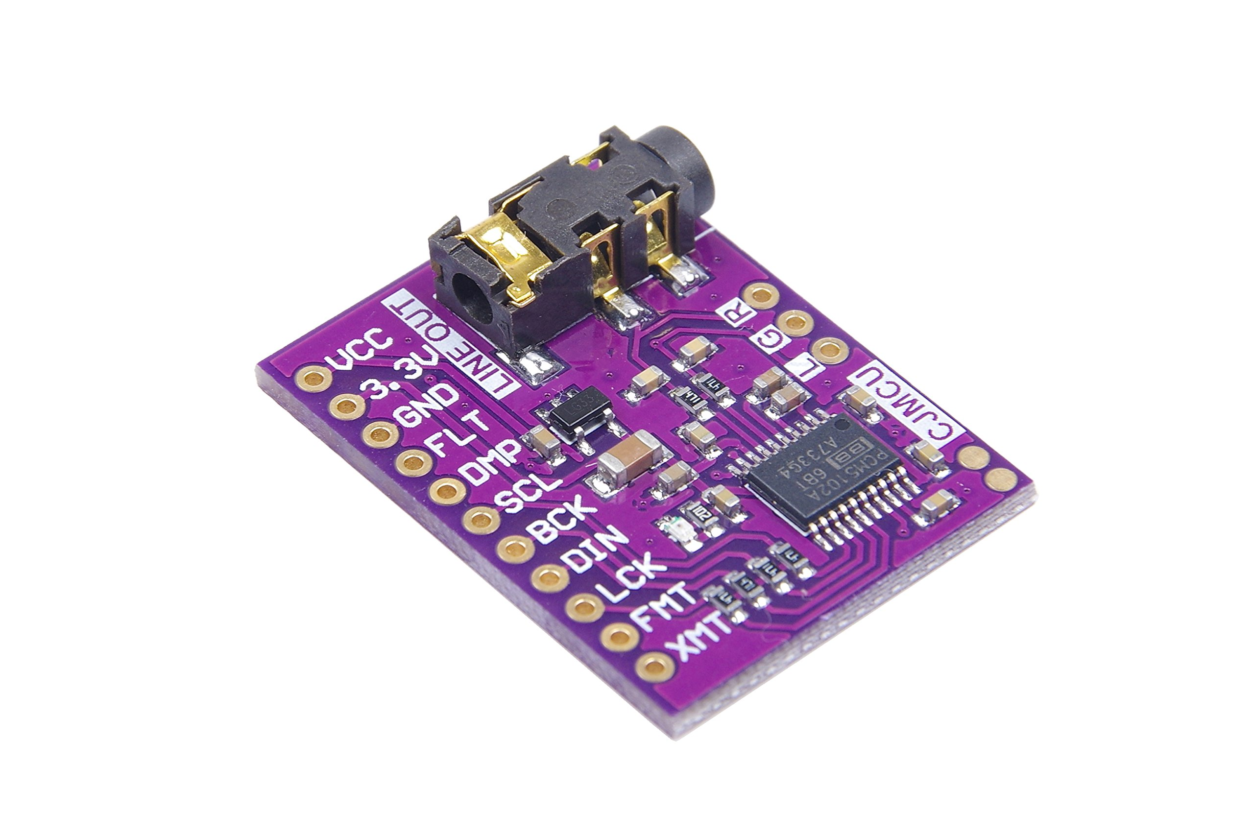 PCM5102A Digital-to-Analog Converter PLL Voice Module Stereo DAC Sound Card Board 3.5mm Stereo Jack 24 Bits Digital Audio Module for Raspberry Pi