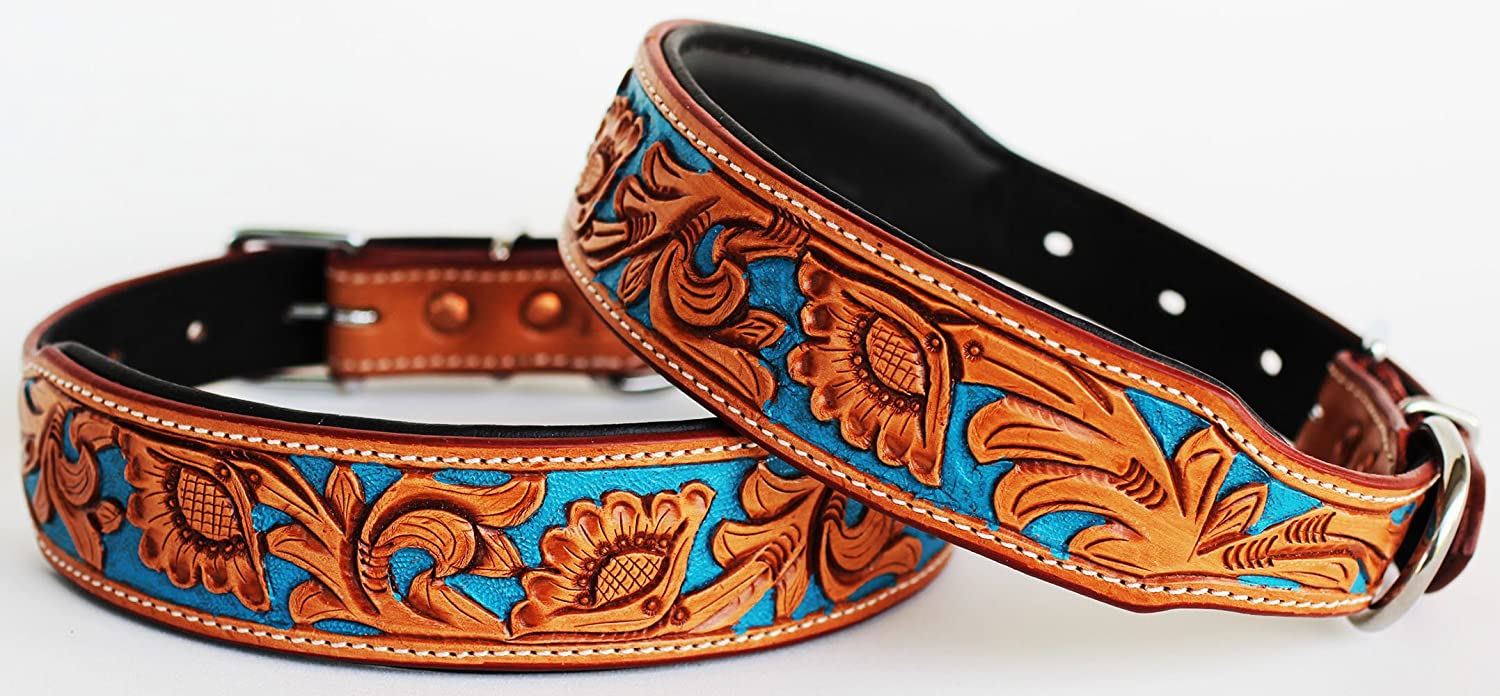 Large 21''- 25'' Dog Puppy Collar Genuine Cow Leather Padded Canine 60104