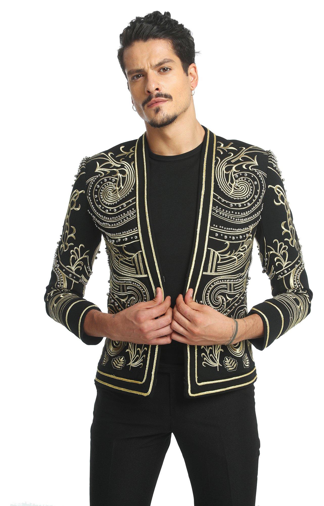 Pizoff Men's Luxury V-Neck Slim Fit Stylish Suit Blazer Jacket Long Sleeve Formal Dinner Dress AD001-02-L by Pizoff (Image #1)