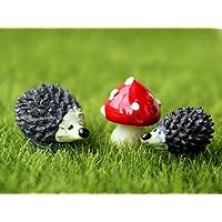 Nicebuty miniatura giardino fata a forma di riccio e funghi set