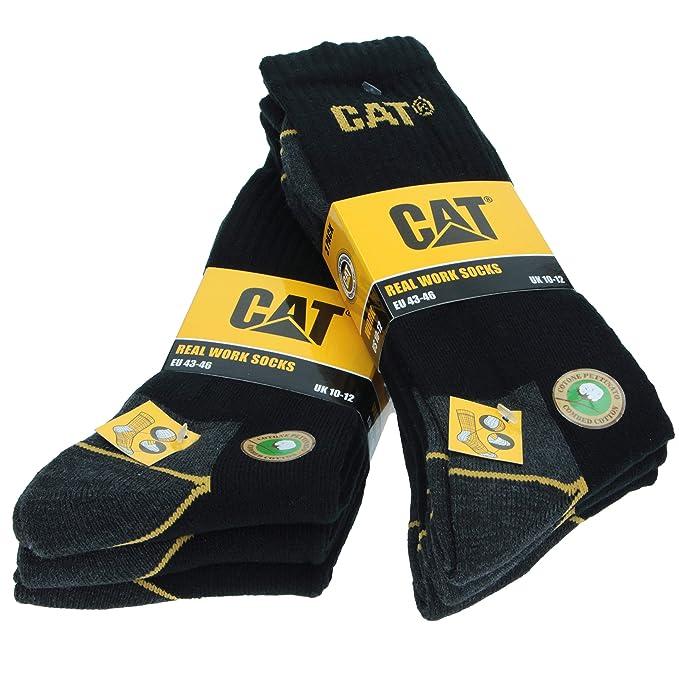 3|6|9|12|24 PARES CAT CATERPILLAR HOMBRE CALCETINES DE TRABAJO REFORZADOS. ESPONJA DE ALGODON: Amazon.es: Ropa y accesorios