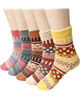 Womens 5 Pairs Vintage Style Winter Warm Wool Thick Knit Crew Socks by Loritta