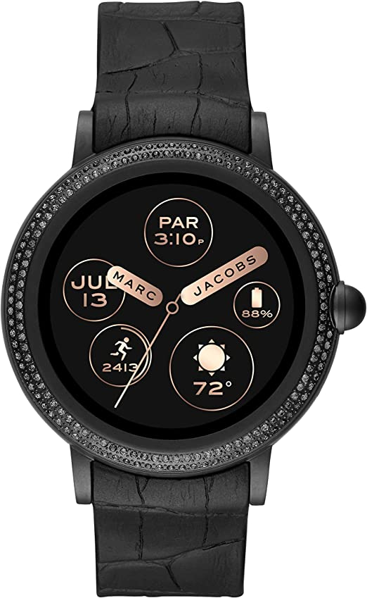 Marc Jacobs Womens Riley Touchscreen Smartwatch Stainless Steel Watch with Silicone Strap, Black, 20 (Model: MJT2005)