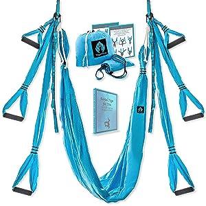 Yoga4You Aerial Yoga Swing Set - Yoga Hammock Swing - Trapeze Yoga Kit - 2 Extension Straps - Wide Flying Yoga Inversion Tool - Antigravity Ceiling Hanging Yoga Sling - Adult Kids Arial Toga