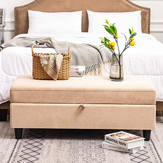 HONBAY Rectangular Storage Ottoman Bench for Bedroom Bench with Storage  Ottoman Lift Top Beige