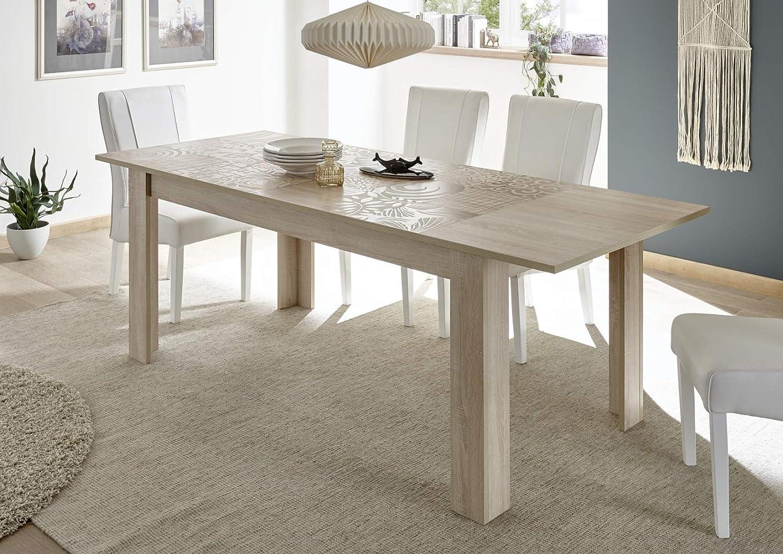 Arredocasagmb.it Tavolo allungabile Moderno 6//8 posti Rovere l.140 con Serigrafia Soggiorno Moderno Sala Design Mira 140