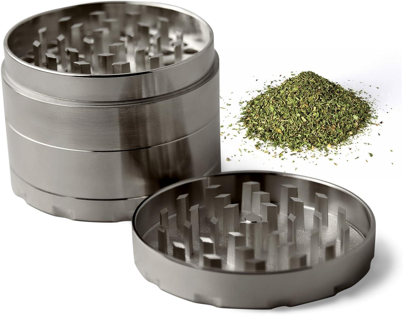Nero Tritatabacco macinino per erbe di ottima qualit/à con raccogli polline Macinino per tritare cereali caff/è erbe