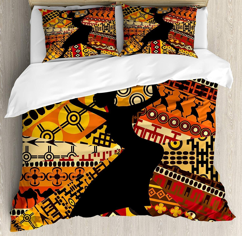 African Woman 寝具4点セット ツインサイズ インディゴのシルエット 伝統的な柄のバスケットを運ぶ 掛け布団カバーセット キルトベッドカバー 子供/子供/ティーン/大人用 フル Cloud Dream B07GX24N8Q  フル