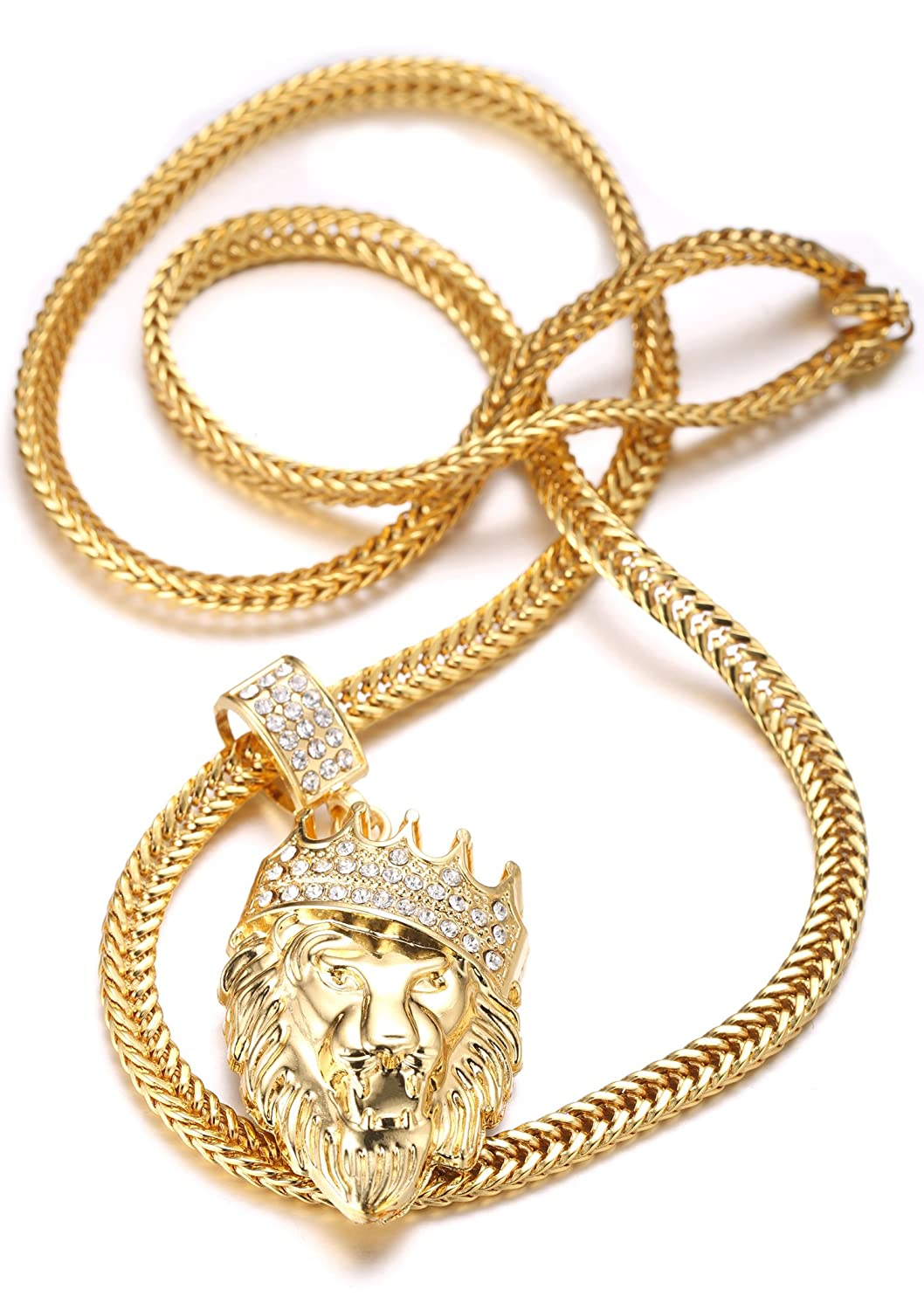Halukakah mens 18k real gold plated kings landing crown lion halukakah mens 18k real gold plated kings landing crown lion pendant necklacecz inlaywith free fishtail chain 30 amazon jewellery aloadofball