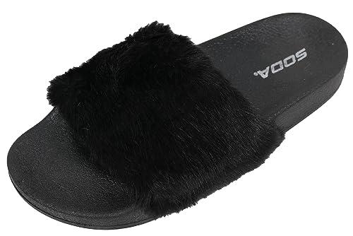 c711770280bb SODA Women s Open Toe Fuzzy Furry Fur Rubber Soles Flip Flop Sandals  (Black