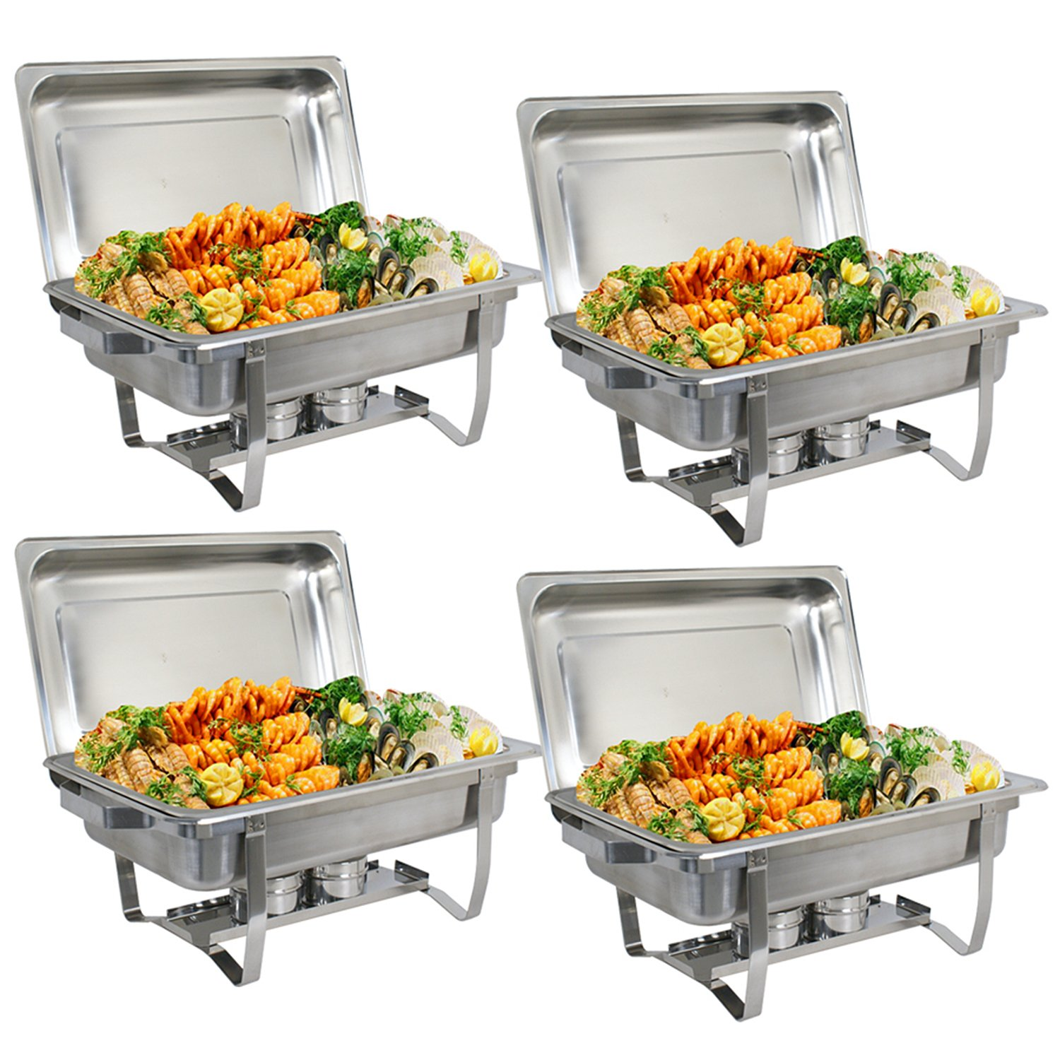 ZenChef New Version 8 Qt Stainless Steel Chafing Dish, Full Size Chafer, Food Warmer with Water Pan, Food Pan, Fuel Holder and Lid (4)