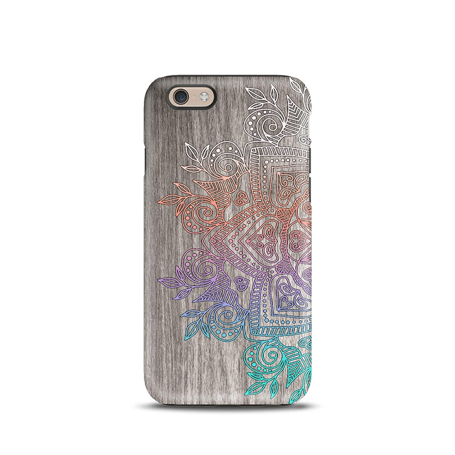 Mandala Wood Boho cover case TPU Tough for iPhone 5, 5s, 6, 6s, 7, 7 plus, 8, 8 plus, X, XS, for Galaxy S6, S7, S8