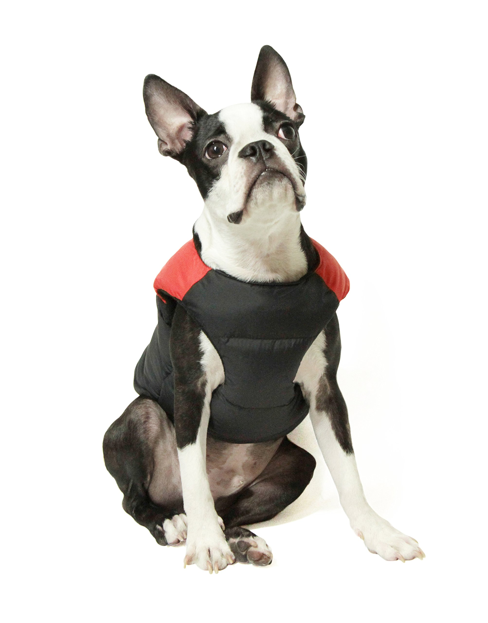 Gooby Padded Cold Weather Vest for Small Dogs with Safe Fur Guard Zipper Closure, Red, Medium by Gooby (Image #2)