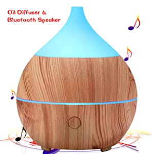 PriBuy Aromatherapy Essential Oil Diffuser with Bluetooth Speaker,Cool Mist Ultrasonic Humidifier,7 Color LED Lights,Waterless Auto Shut-Off,200mL Diffuser for Office/Home/Bedroom/Baby Room/Yoga Spa.