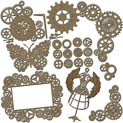 Steampunk Scrapbooking Laser Cut Chipboard 20 Piece Set Distressed Clock Pieces
