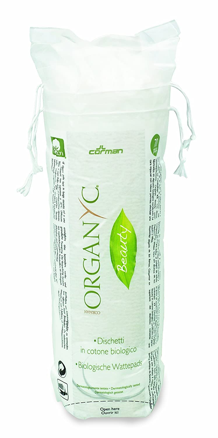 Organic Cotton Pads Made from 100% Biological Cotton in Biodegradable Packaging Pack of 4/4 x 70 Items Organyc ORGBT02AMA