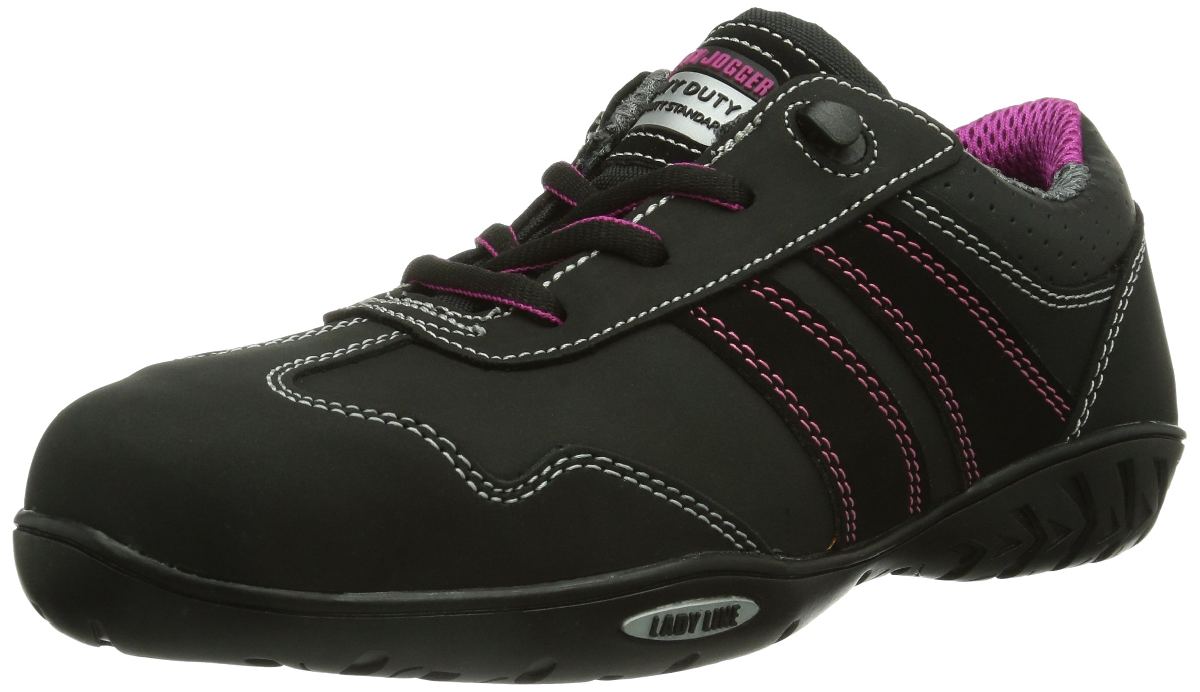Safety Jogger 'CERES S3' Women's Occupational Steel Toe, EH, SD Safety Shoes (Black/Pink) (5 US)