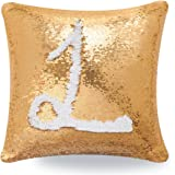 Livedeal Reversible Sequins Mermaid Pillow Cases 4040cm Gold and White