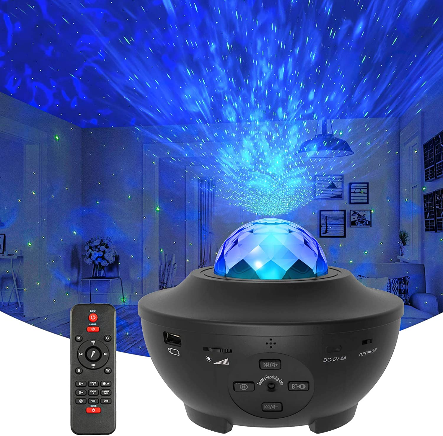 Stage Music Laser Light Remote Control and Voice Control Starlight Projector,Nebula Night Light Childrens Gift//Dating//Party//Home Theater Best Choice with Bluetooth Speaker