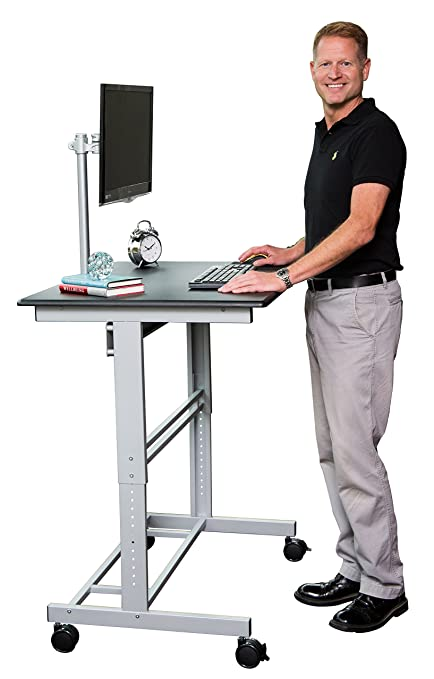 Amazoncom 40 Mobile Adjustable Height Stand Up Desk with Monitor