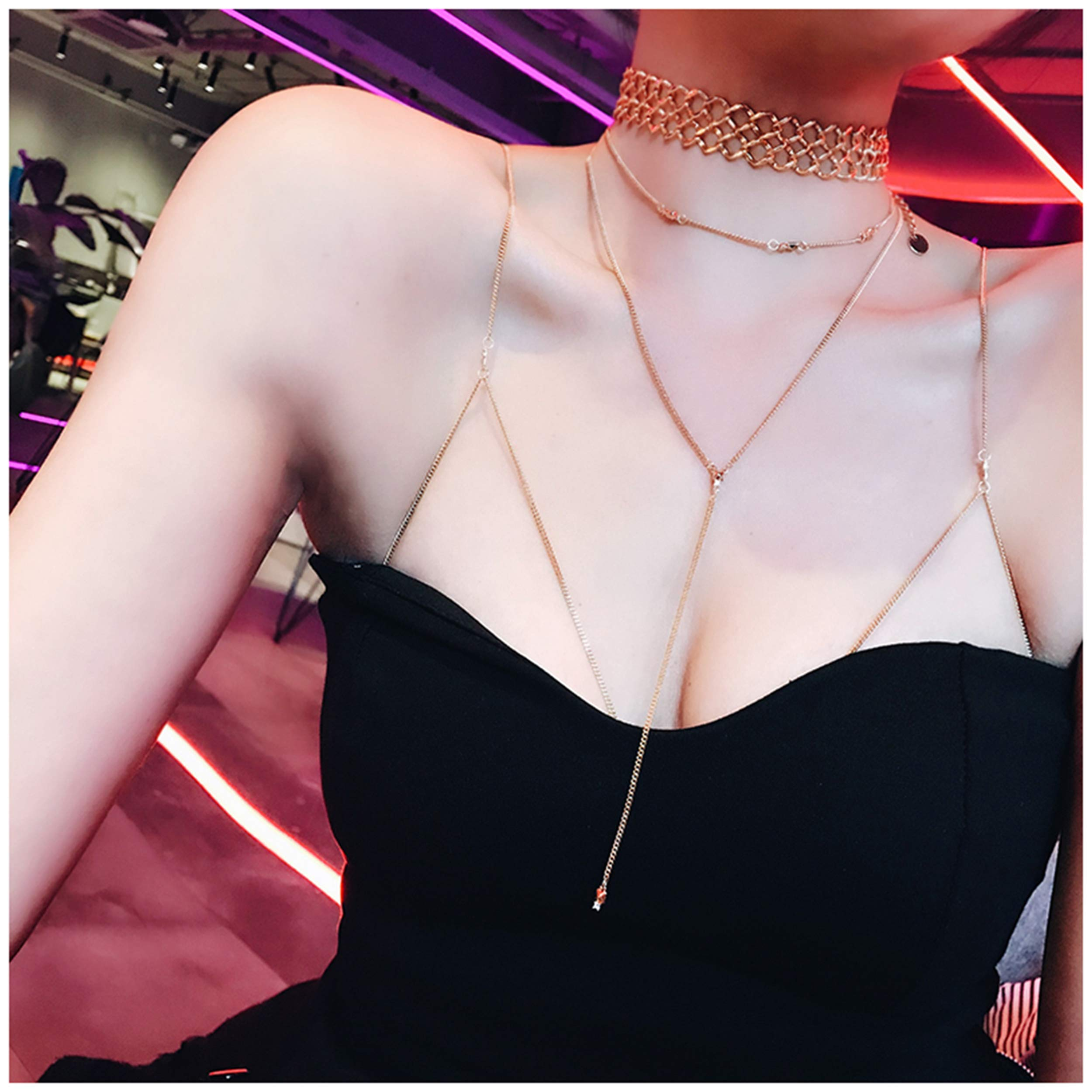 Body Chain Jewelry with Gold Choker Long Pendant Necklace 3Pcs Sexy Body Chain Set Body Necklace for Women by AccPlanet