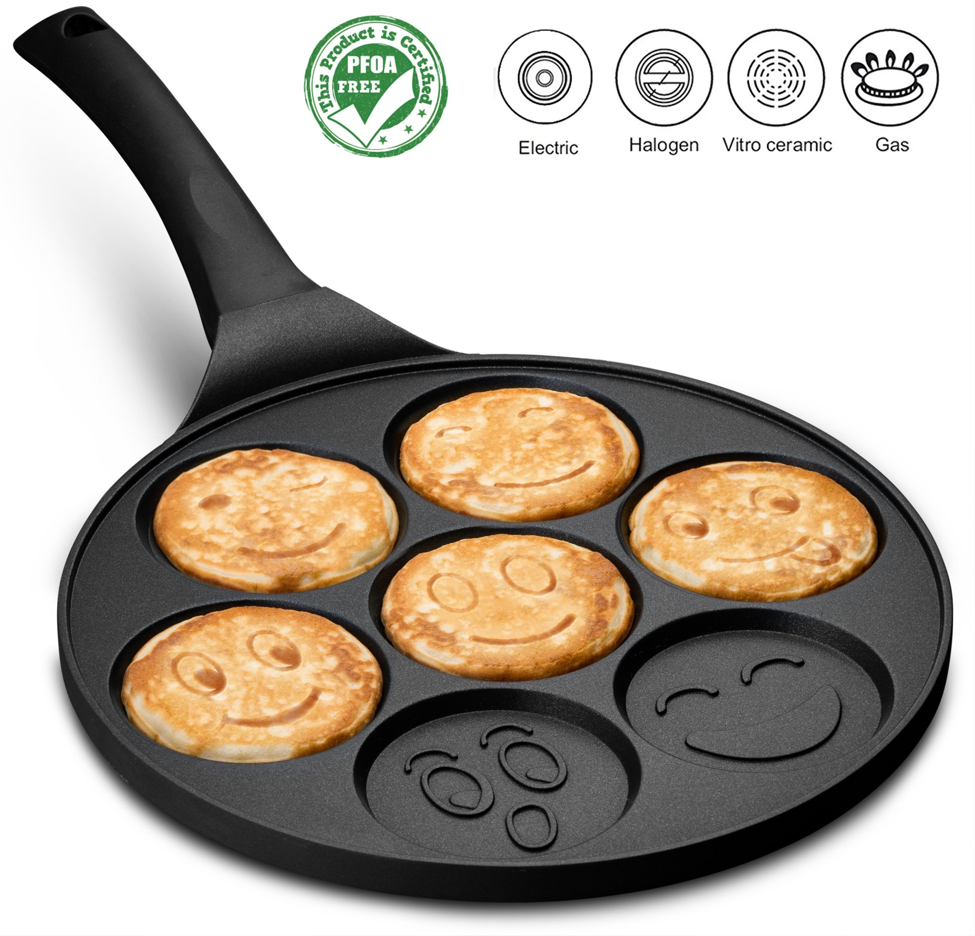 Gourmia GPA9540 Smiley Face Pancake Pan – Fun 7 Emoji Mini Pancake and Flapjack Maker – Die Cast Aluminum, Double Layer Nonstick Coating – Cool-to-Touch Handle