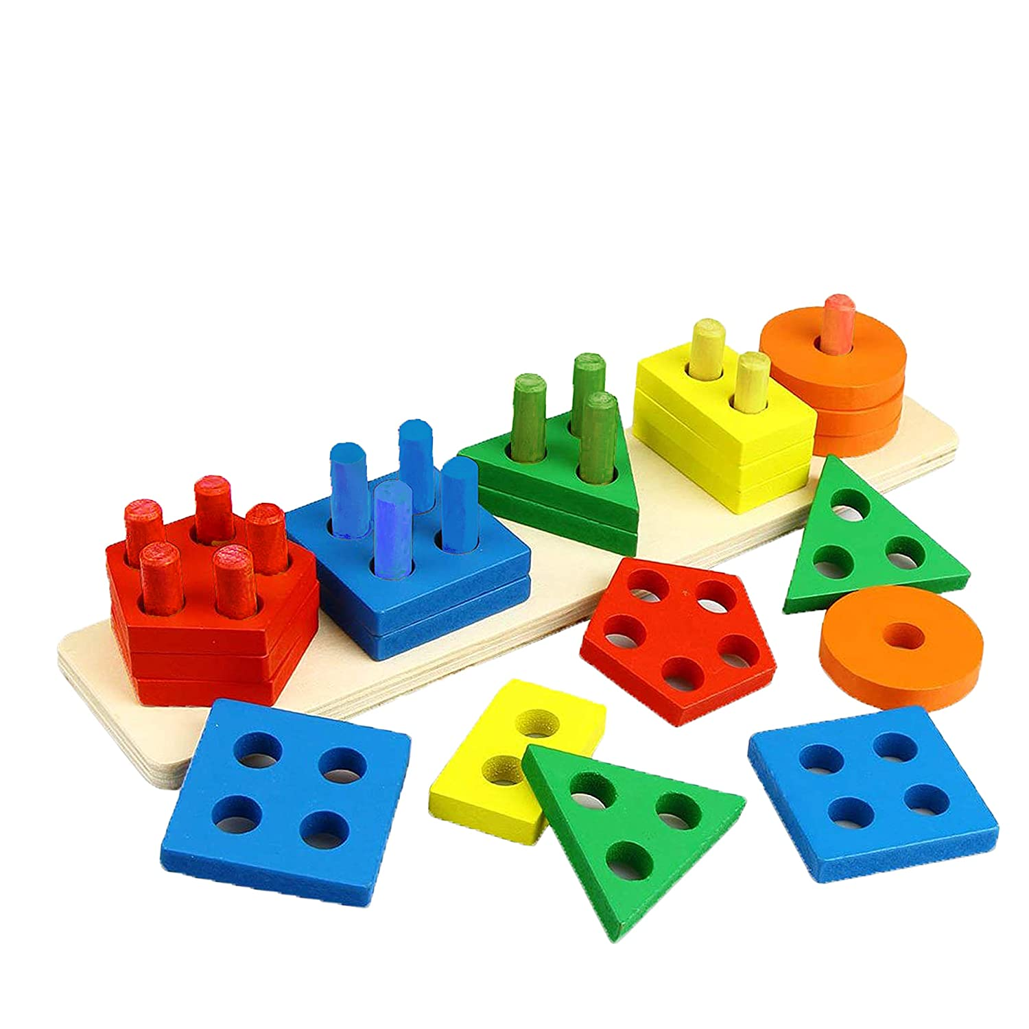 Wooden educational sorting and stacking toy Learn color and shape recognition Kids Montessori education puzzle blocks toy for toddlers preschool Children game