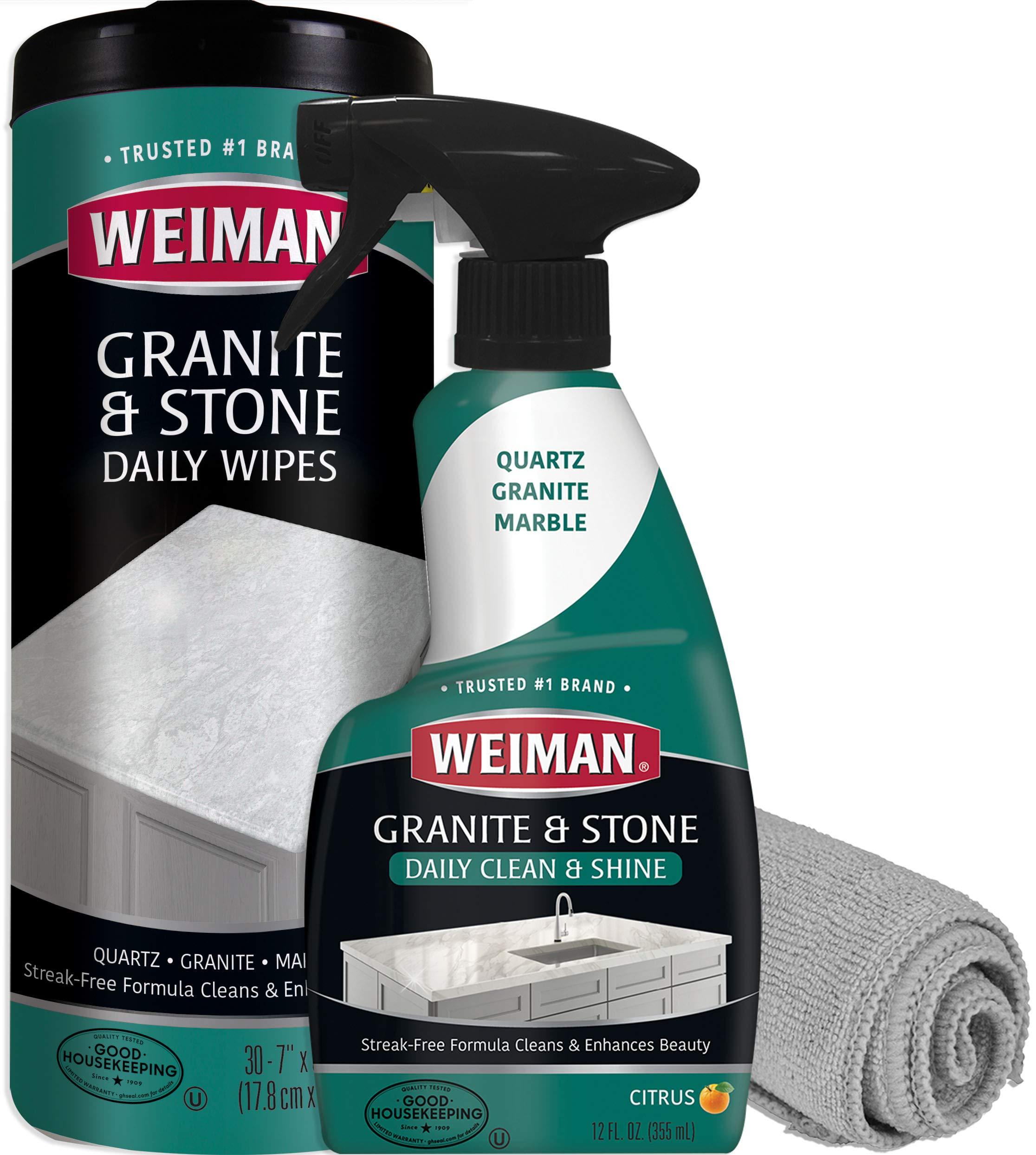 Weiman Granite Cleaner Kit - Non-Toxic for Granite Marble Soapstone Quartz Quartzite Slate Limestone Corian Laminate Tile Countertop by Weiman