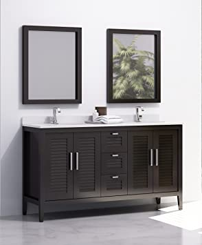 Madrid 60-inches Double Sink Bahtroom Vanity Solid Wood, Espresso, Cabinet, Crema Marfil Quartz Countertop and Double White Ceramic Undermount Sink, ...