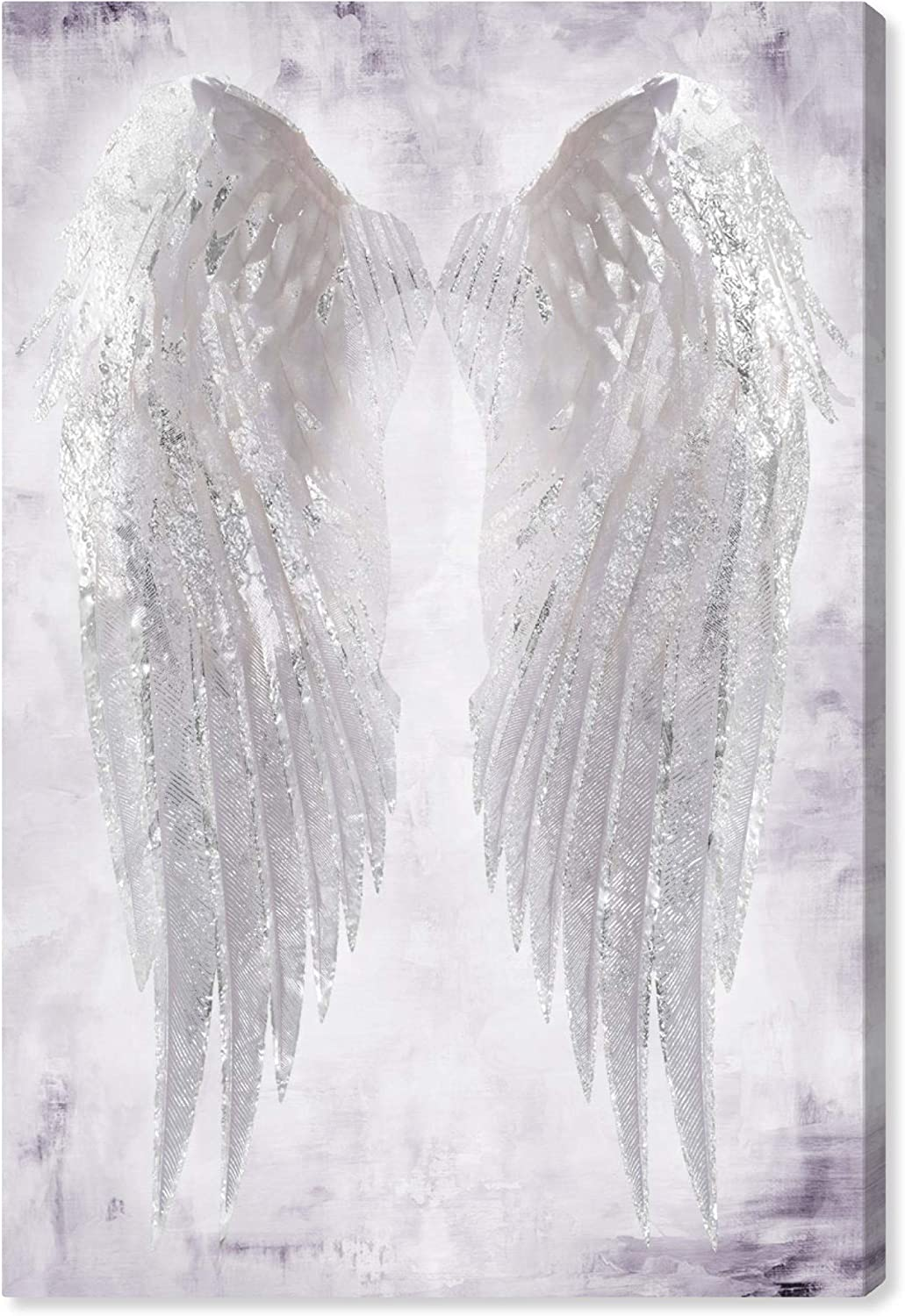 """The Oliver Gal Artist Co. Fashion and Glam Wall Art Canvas Prints 'Wings of Angel Amethyst' Home Décor, 16"""" x 24"""", White, White"""