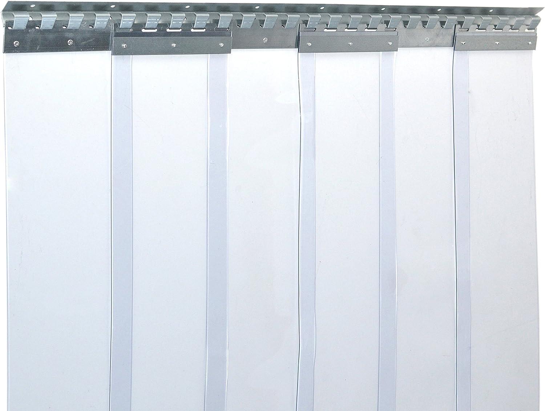 Cortina de fleje de PVC Cortina elástica industrial de 2x200 mm, transparente, completamente premontada, rieles de montaje galvanizados, resistente a la intemperie, protección contra salpicaduras: Amazon.es: Bricolaje y herramientas