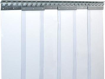 protecci/ón contra salpicaduras Cortina de fleje de PVC Cortina el/ástica industrial de 3x300 mm transparente completamente premontada resistente a la intemperie rieles de montaje galvanizados