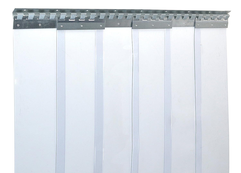 protection contre les /&eacu rails de montage galvanis/és r/ésistant aux intemp/éries transparent Rideau /à lani/ères en PVC Rideau industriel /à lani/ères 2x200mm compl/ètement pr/é-assembl/é