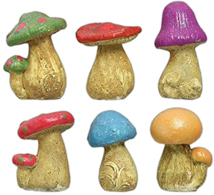 Set Of 6 Mushroom Garden Figures