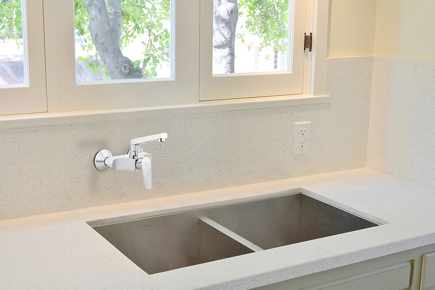 Hindware F360027CP Single Lever Sink Mixer (Wall Mounted) (Element on