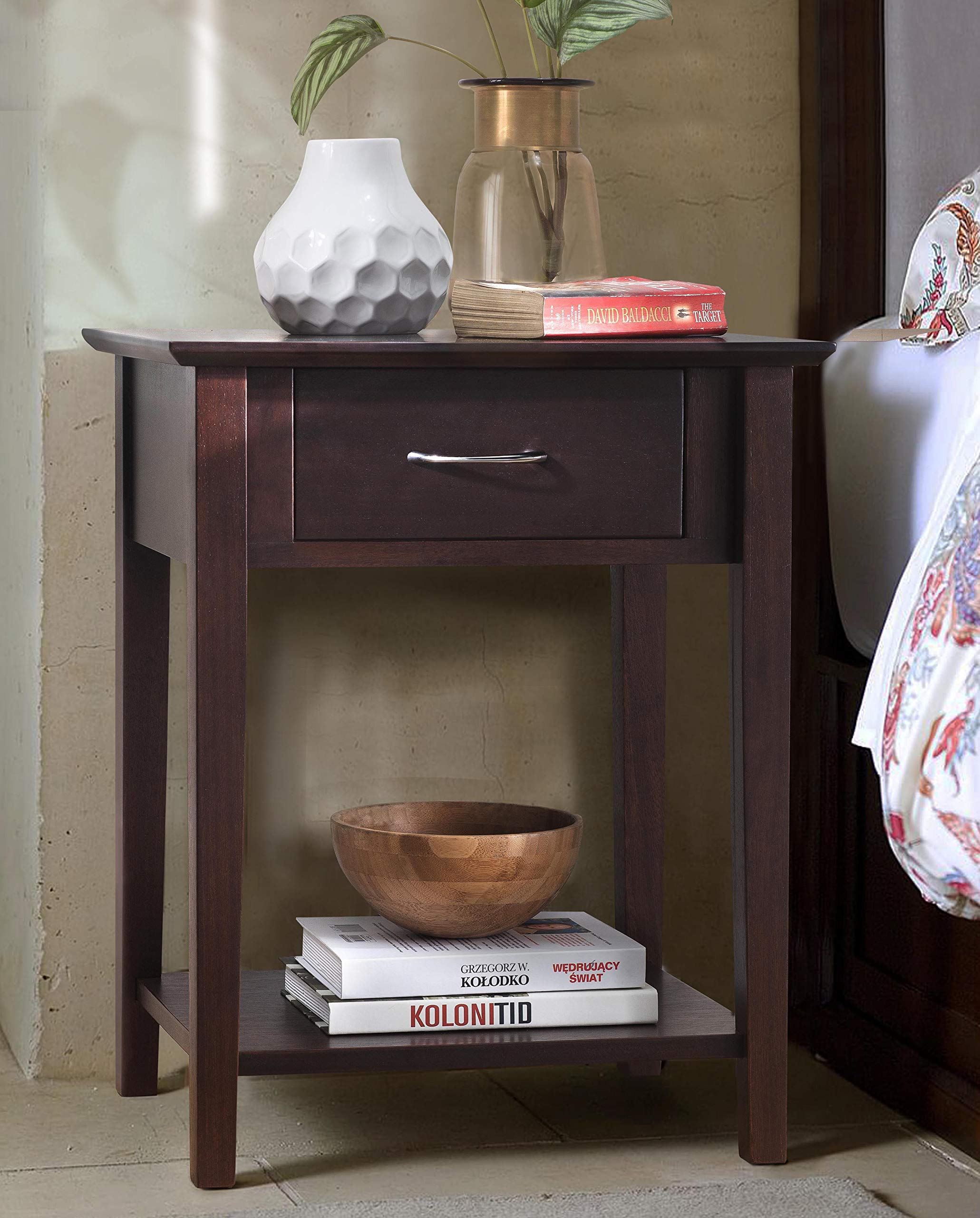 SJ Collection B12600002-P Holmes Night Stand with Drawer Small Espresso, Antique Walnut