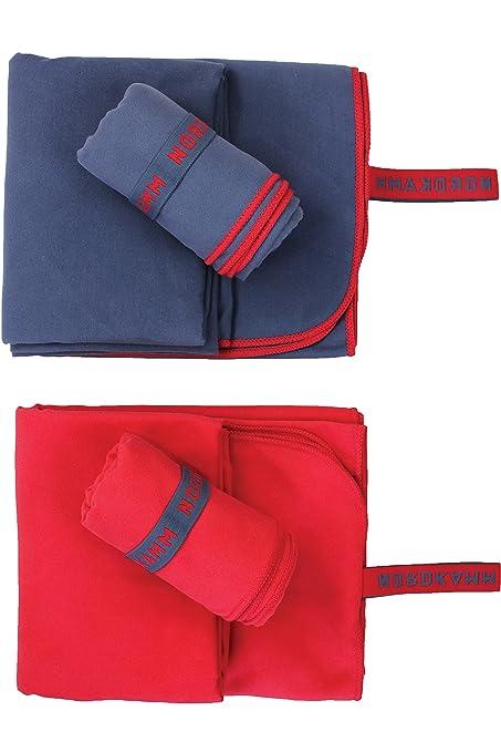 NORDKAMM – Toalla de Microfibra, Certificado Oeko Tex 100, Rojo, Ultraligera, Secado
