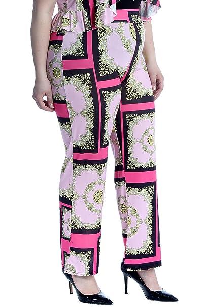 bcf2f52d50246 Nouvelle Collection. Womens Plus Size Trousers Pants Chains Paisley Tassels  Print Bottoms at Amazon Women s Clothing store