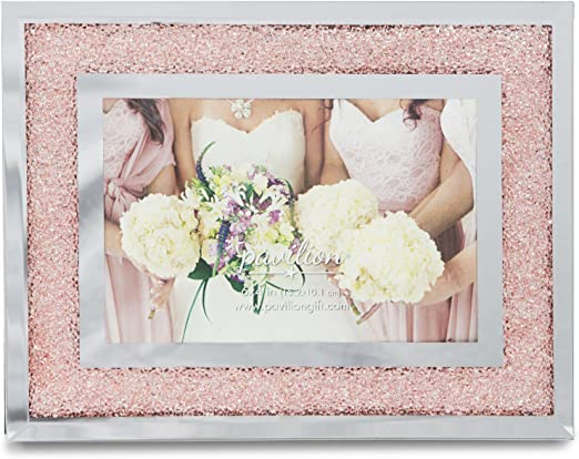 """WEDDING DAY CRYSTAL /& MIRROR BORDER DOUBLE PHOTO FRAME GIFT BOXED PRESENT 4/""""X6/"""""""