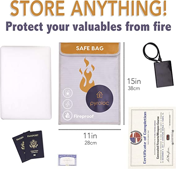 15 x 11 Pyroloc Fireproof Document Bag Laptop Great for RC LiPo Battery to Contain Explosion Large Capacity for Documents Passport Cash Jewelry Amaraja Products Fire Tested for Your Peace of Mind