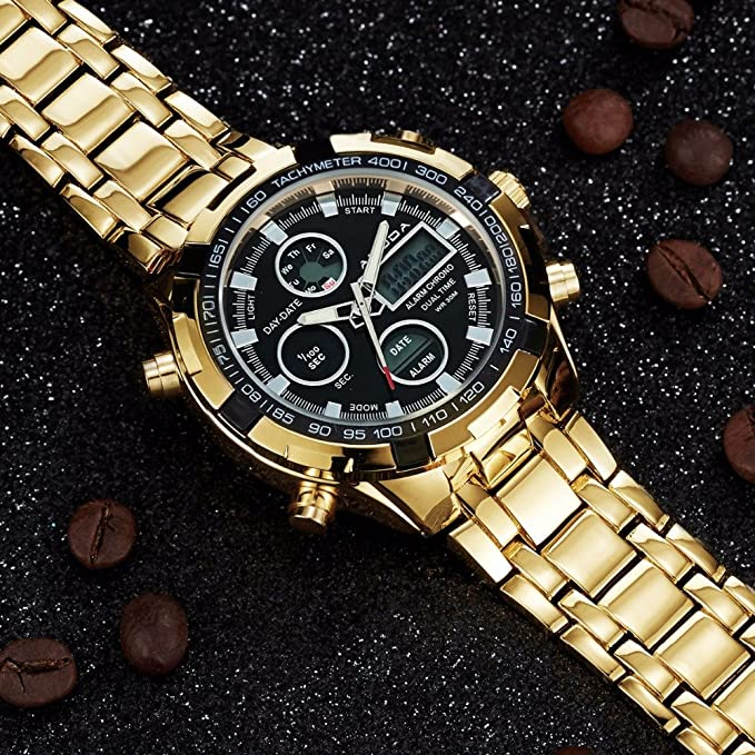 Amazon.com: Men Fashion Watches Luxury Brand Gold Golden Watches Men Sports Quartz-watch Dual Time Relogio (Gold): Electronics