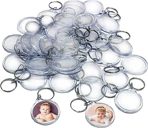 Pour femme et homme Lot de 25 porte-cl/és ronds transparents en acrylique avec insertion de cadre photo 1,4 x 1,4 cm Diam/ètre int/érieur