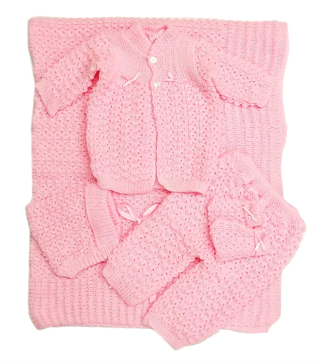 Blanket Newborn Crochet Five Piece Set Hat,Booties, Sweater,Pants Booties Pants (Blue) MT5