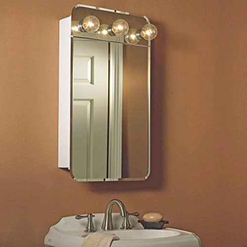 Broan Lafayette Frameless Surface Mount Medicine Cabinet with Exterior Lights and Piano Hinge 18 1 8 W x 4 D x 32 3 8 H