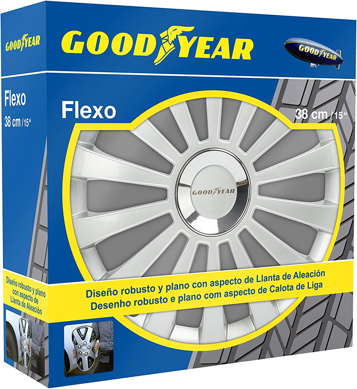 Good Year GOD9030 - Set de 4 Tapacubos Flexo 30, Plata, 15 Pulgadas