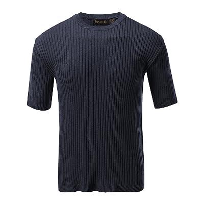 7 Encounter Men's Crewneck Short Sleeve Large Ribbed Sweater