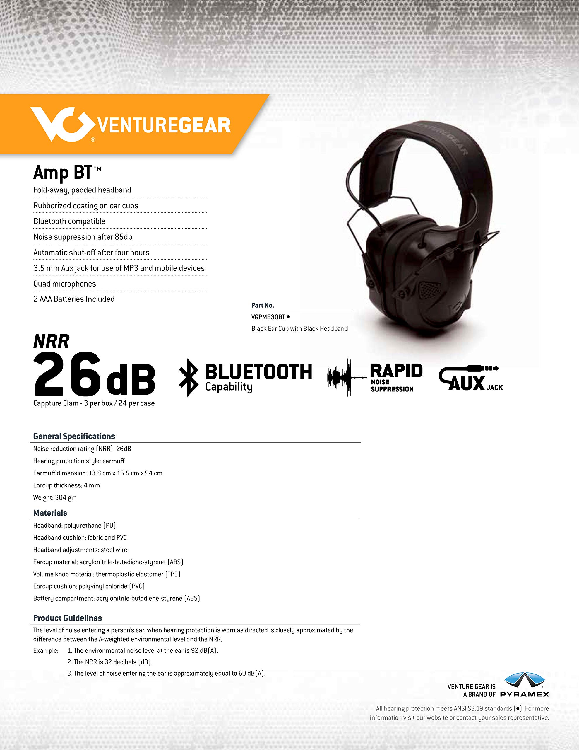 Venture Gear Amp BT Electronic Bluetooth Hearing Protection Earmuffs by Pyramex Safety (Image #6)