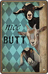 Nice Butt Goats Tin Sign Wall Art Canvas Print Funny Vintage Retro Poster Paintings Cute Goats Home Bedroom Bathroom Decor Picture Vertical,812inches.