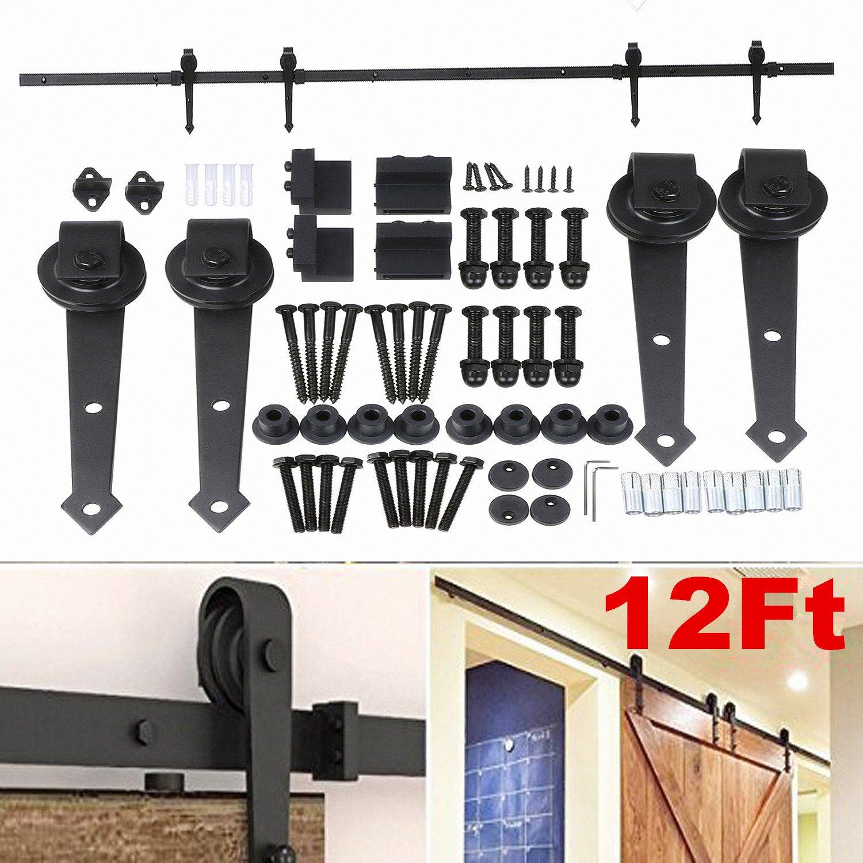 Yaheetech Black Modern Sliding Barn Wood Door Hardware Closet Set (6FT)