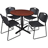 """Cain 36"""" Round Breakroom Table- Cherry & 4 Zeng Stack Chairs- Black"""